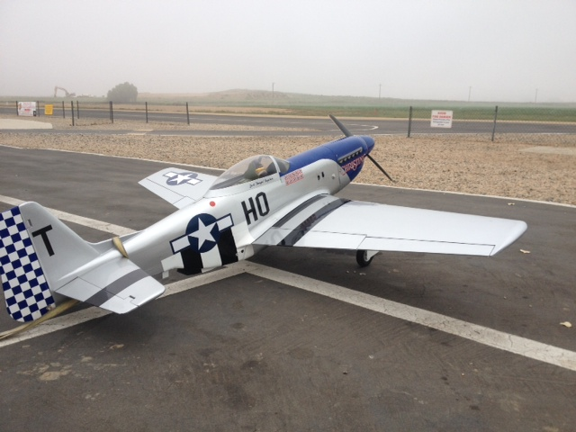 Aeroworks P-51 powered by a DLE 55.  Photo courtesy of Shaun Roblee